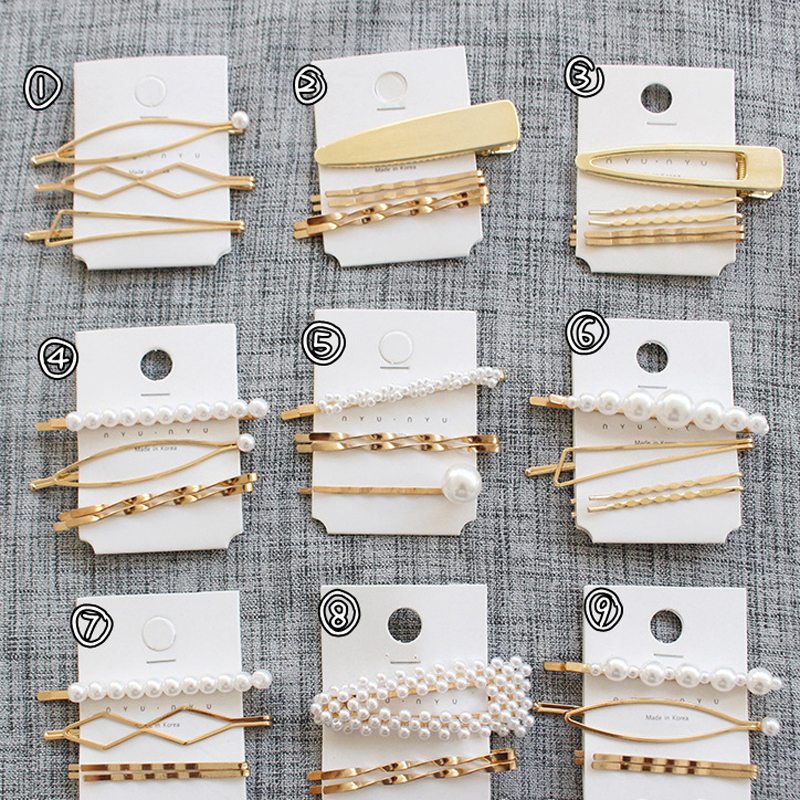 Multic Style Pearl Hair Clip Snap Barrettes for Women Girls Hair Accessories Beauty Styling Tools Hairpins Hairgrips Headwear