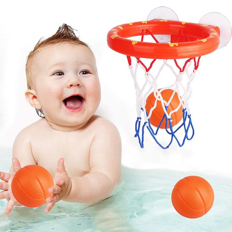 New Bath Toys 3 Balls Bathtub Basketball Hoop Game Shooting Baby Bath Toy Water Paddle Sports Joke For Children Funny Gift
