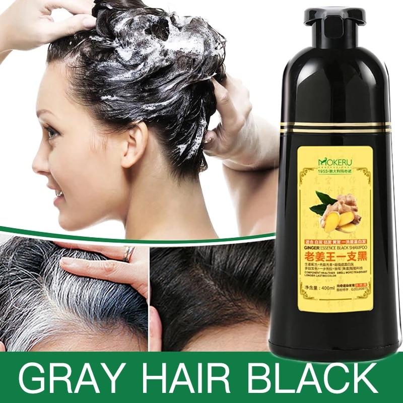 1pc Mokeru Natural Fast Hair Dying Shampoo Ginger Hair Dye Permanent Black Hair Shampoo For Women and Men Gray Hair Removal