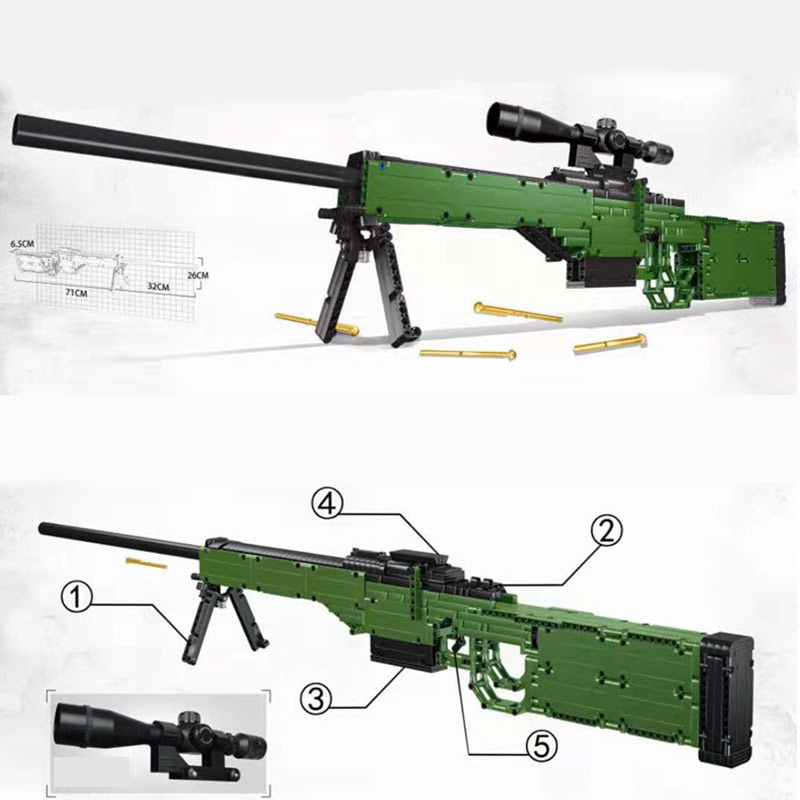 78cm AWP Building Blocks Arctic Warfare Magnum Sniper Rifle With Function 8x Scope Awm Toy Gun Shoot Game Gift For Boy Kid Adult