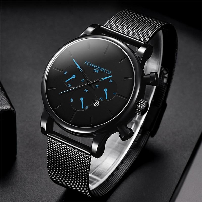 Relogio Masculino Mens Business Dress Watches Luxury Casual Waterproof Sport Watch Men 3-Sub Dial Quartz Slim Mesh Watch WD