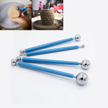 Modeling Sculpture Tools 4pcs/set Stainless BJD Molding Ball Stylus Polymer Clay Paper Clay Flower Petal Make Pottery Tool dsha hot sale ball stylus dotting tools 18 pcs clay tools sculpture modeling tools for pottery sculpture plastic paper flowers