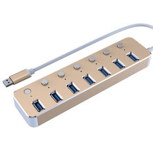 7 ports Aluminum alloy USB 3.0 HUB Independent switch Splitter r USB Hab High-Speed 5Gbps USB3.0 Splitter 3 HUB For PC laptop цена и фото