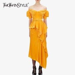 Conjunto de dos piezas de terciopelo TWOTWINSTYLE camisa de manga de linterna de cuello de barco con fajas de cintura alta falda Irregular trajes de mujer
