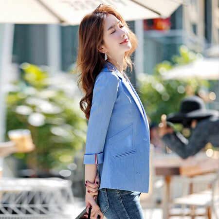 レジャー時間 2019 Xiushen 小さなホワイトカラー男のスーツ 7 部袖ブルー shein チャケータ mujer ブレザー feminino レディーストップス