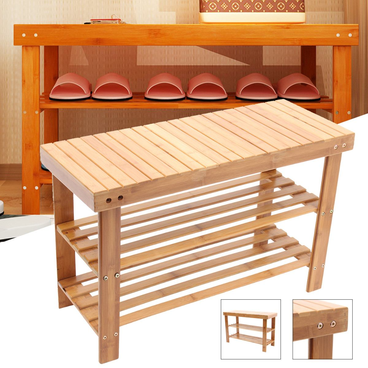 Minimalist Modern Change Shoes Bench Shoe Rack Bamboo Shoe Cabinet Nordic Change Shoes Storage Long Bench Stool Shoes Bench