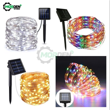Outdoor Led Strip Solar Power 33Ft 100 LED 10M Copper Wire Light String Waterproof Safe Christmas Party Wedding Atmosphere Lamp(China)