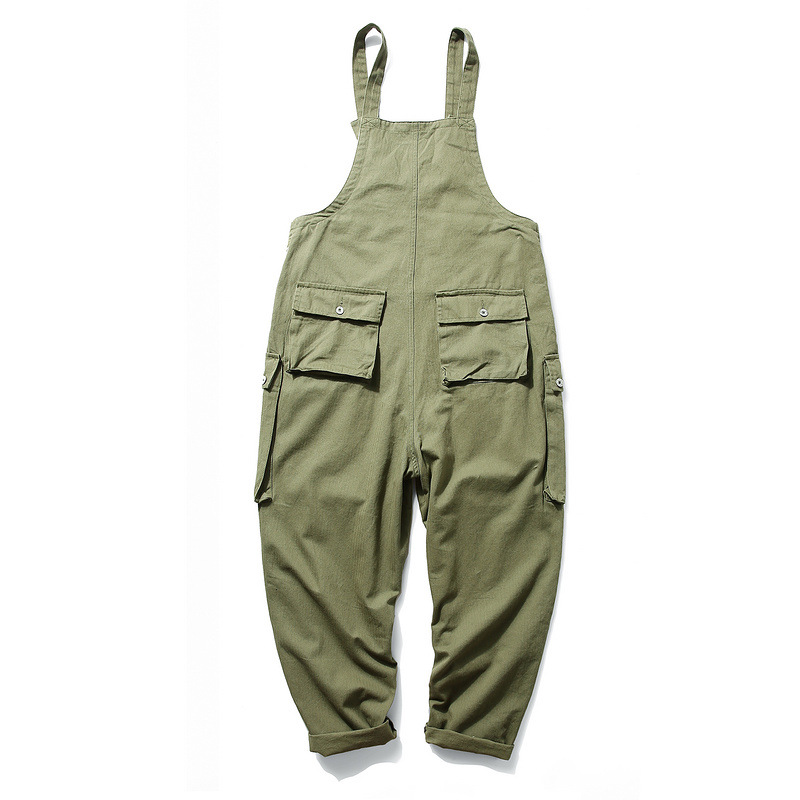 KIOVNO Fashion Men Hip Hop Bib Overalls Multi Pockets Cargo Work Streetwear Jumpsuits For Male Loose Pants (11)