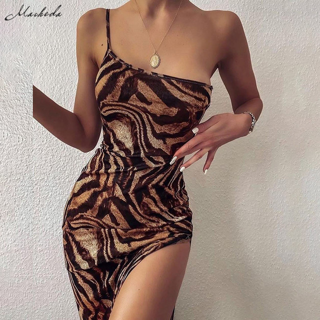 Macheda Women Fashion One-Shoulder Sling Bodycon Dress Summer Sleeveless Print Street Casual Long Dress For Party Club 2020 New 1