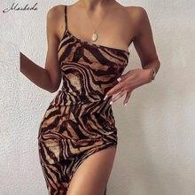 Macheda Femmes Mode Une Épaule Fronde Robe Moulante D'été Sans Manches Imprimé Rue Robe Longue Décontractée Pour Le Club De Fête Nouveau