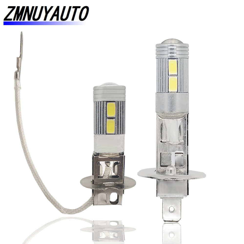 2Pcs H1 H3 LED Bulb Car Fog Light Super Bright White 10SMD 5730 12V 6000K Automobile Vehicle Driving Day Running Lamp Auto