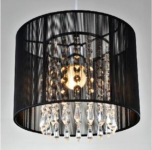 Modern crystal chandelier importers K9 crystal lustres de cristal fixture Black White fabric chandelier for living bedroom lamp(China)