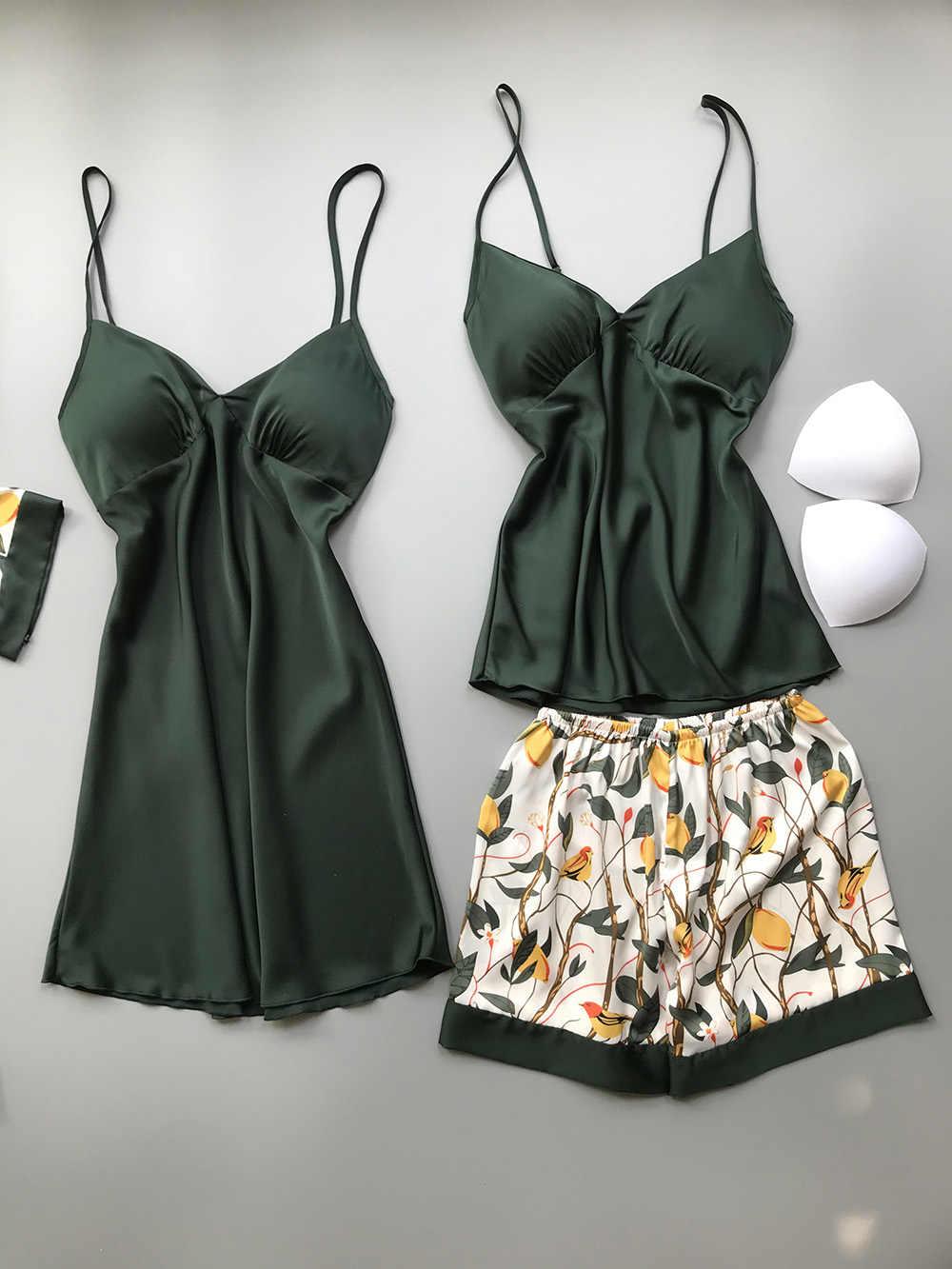 2020 İlkbahar sonbahar kadın ipek Pijama setleri göğüs yastıkları ile çiçek baskı Pijama Pijama 4 adet spagetti kayışı saten Pijama
