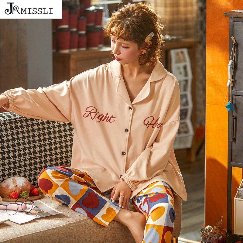 JRMISSLI Lady Ltter Print Pijama Set Sleepwear Clothing Womens Pajamas Long Sleeves Pants 2020 Spring New Style Nightwear
