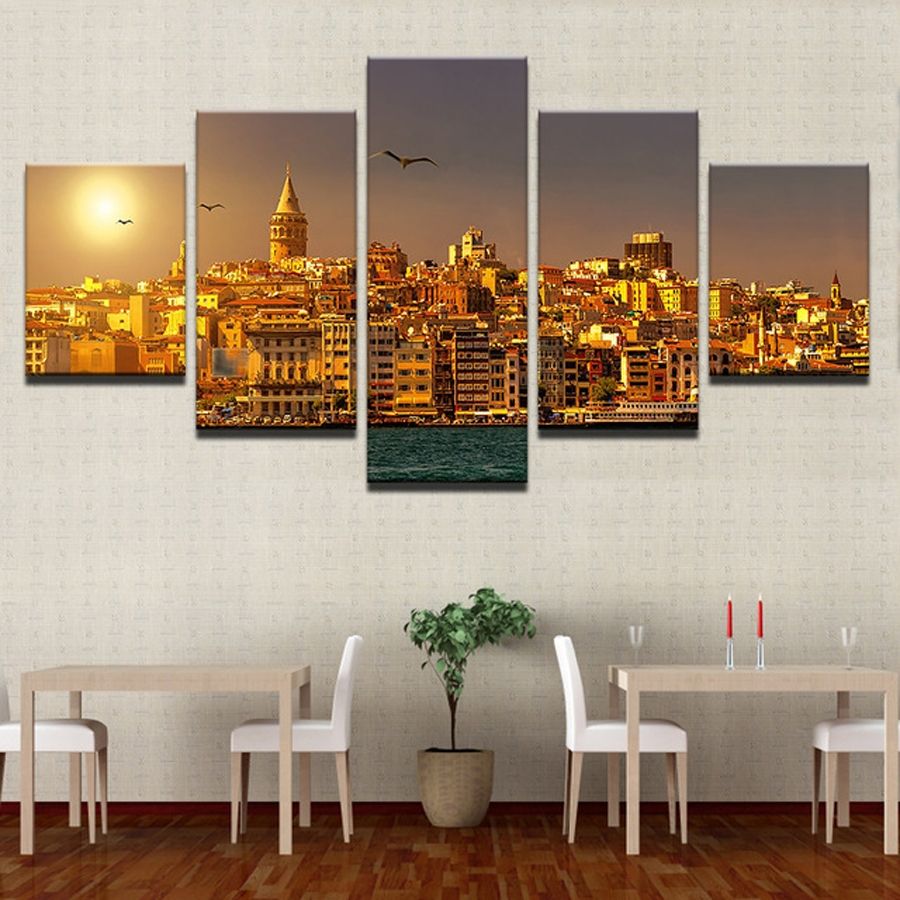 5pcs set diamond embroidery <font><b>Istanbul</b></font> Turkey Sunrise landscape diamond Picture Full square round diamond painting cross stitch image