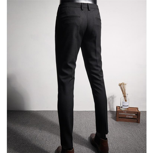 Autumn mens embroidery ankle length pants 28-36 Gray black pant Teen fashion business casual pants men