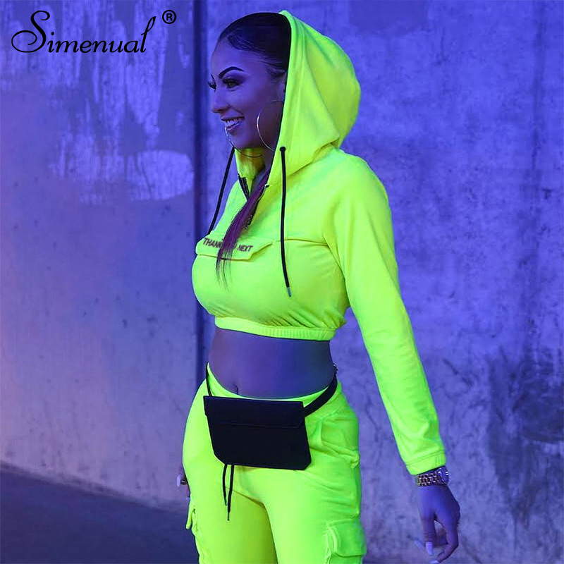 Simenual Neon Casual Sporty Two Piece Set Women Workout Active Wear Letter Print Tracksuit Long Sleeve Top And Sweatpants Sets