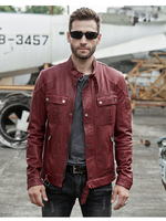 Men's Winter Red Genuine Leather Jackets Motorcycle Flight Pilot Bomber Jackets For Men Hombres Outdoor Trench Male Aviator Coat