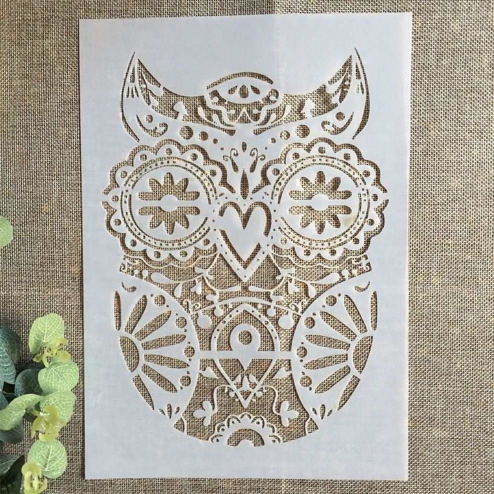 29*21cm Vintage Owl DIY Layering Stencils Wall Painting Scrapbook Coloring Embossing Album Decorative Paper Card Template
