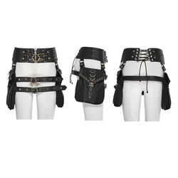 PUNK RAVE Women's Steampunk Jewelry PU Leather Detachable Bag Personality Handsome Women Girdle