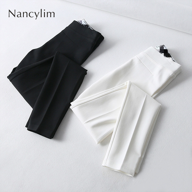 Plus Size Stretch Pants For Woman 2019 New Slim Temperament Casual Legins Pants Office Lady All-match Basic Trousers White Black