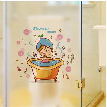 Urocza dziewczyna w wannie szklana naklejka na ścianę i drzwi prysznic wodoodporna łazienka dekoracja wnętrz naklejki ozdobne naklejki tapeta tanie i dobre opinie Płaska naklejka ścienna Nowoczesne For Wall Jednoczęściowy pakiet Na szkło lub do łazienki ZYVA-339-NN Z tworzywa sztucznego