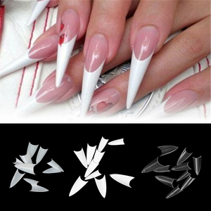 500 pcs Fashion False Nails Clear Natural White Long Pointy Sharp Stiletto Full Cover French Acrylic UV Gel Nail Tips Manicure