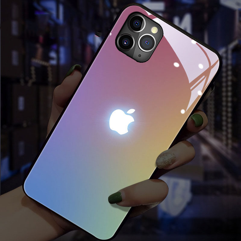 Sound Acoustic control Mobile Phone Case For Apple logo Iphone 6 7 8 11 XS XR MAX Glowing Protect Phone shockproof Glasses Cover
