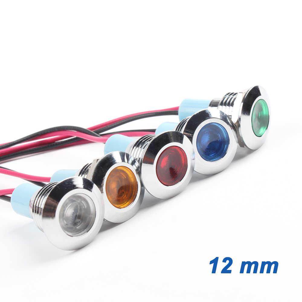 6 مللي متر 8 مللي متر 10 مللي متر 12 مللي متر 16 مللي متر المعادن LED تحذير مؤشر ضوء للماء IP67 مصباح إشارة الطيار أسلاك التبديل 3V 5V 12V 220V الأحمر الأزرق
