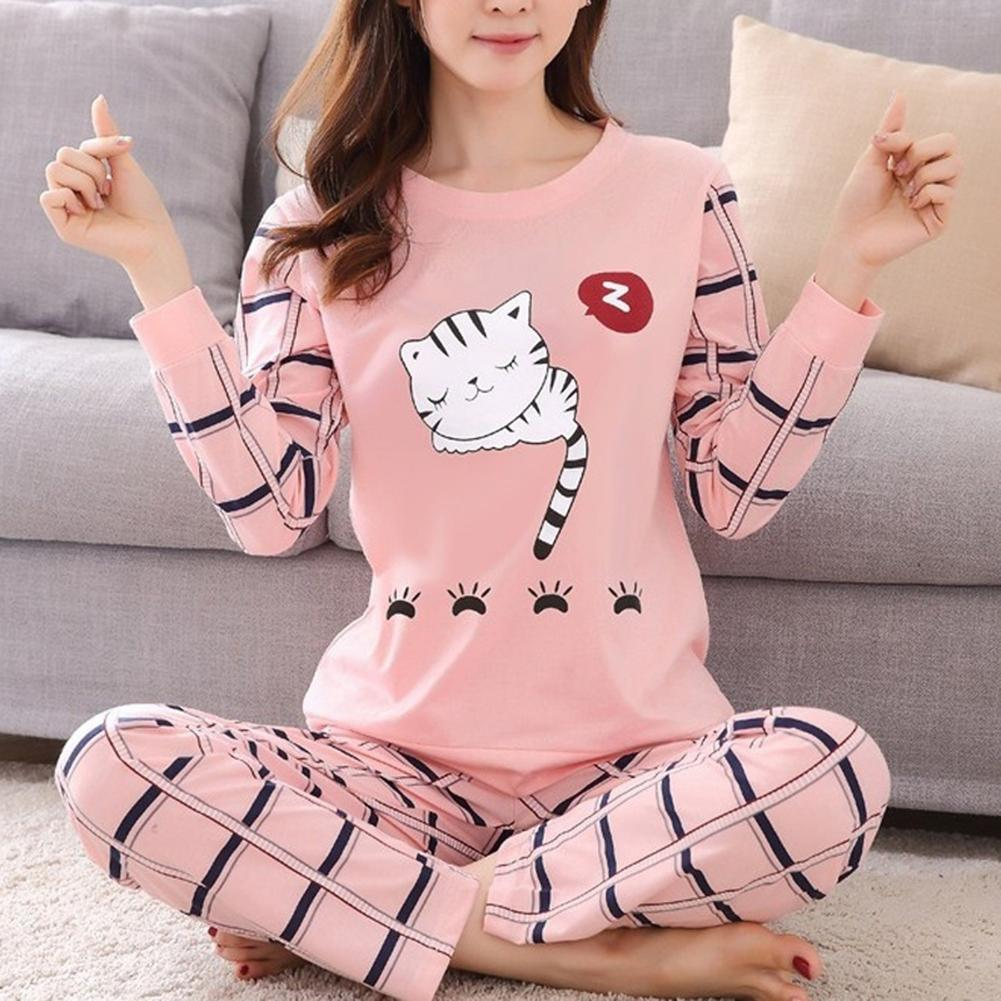 Women Spring Autumn Sleepwear Casual O Neck Cute Cartoon Cat Print Long-sleeved Trousers Home Wear Suit Pajamas Set Two Piece