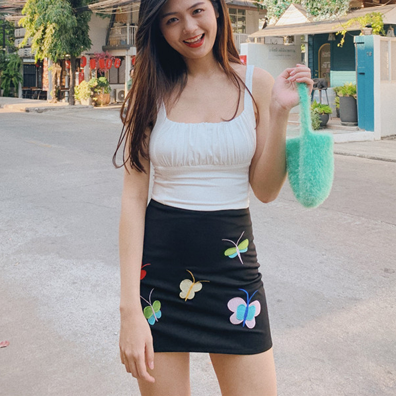 Women Embroidery Butterfly Mini Skirt
