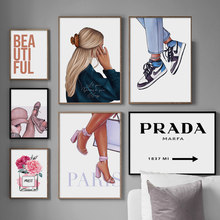 Fashion Girl Shoes Perfume Flower Quotes Wall Art Canvas Painting Nordic Posters And Prints Wall Pictures For Living Room Decor