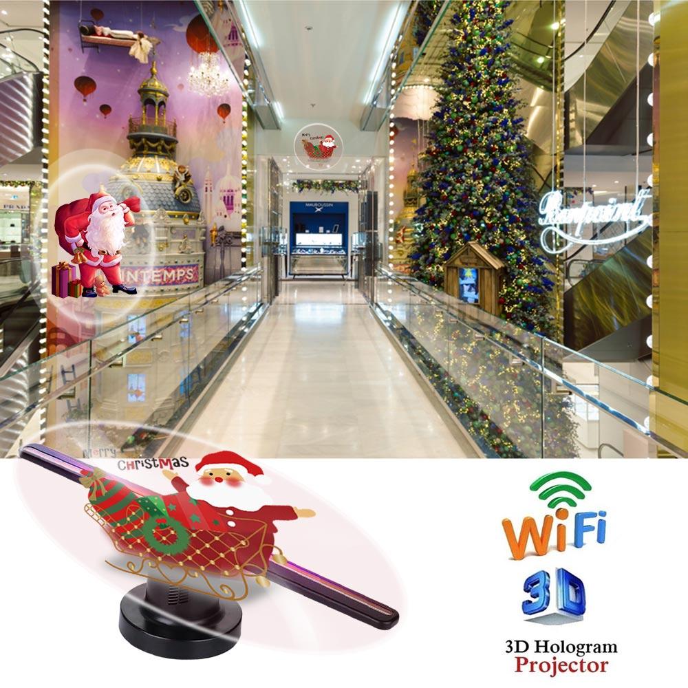 3D hologramme affichage projecteur ventilateur holographique Wifi nouveau 3D hologramme projecteur ventilateur lecteur 3D hologramme projecteur ventilateur 224 LEDs 42cm - 5