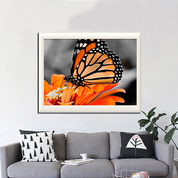 WUJIE 5D Butterfly Full Diamond Painting DIY Rhinestone Cross Stitch Animal Wall Pictures Living Room Decor Embroidery Artwork