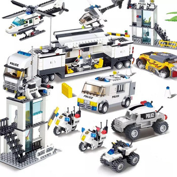 631pcs legoings city police station swat car building blocks sets figures friends creator bricks educational toys for children City Police SWAT Helicopter Truck Car Playmobil Brinquedos Building Blocks Sets Assembly Creator Bricks Educational Kids Toys