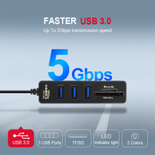 3  USB Hub 3.0 Multi Splitter High Speed 5Gbps TF SD Card  for PC Tablet Laptop Notebook Computer Accessories 1pcs