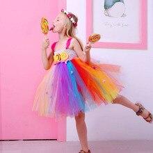Платье-пачка для девочек; одежда для детей; платье радужной расцветки для рождественской вечеринки; платье принцессы с рисунком леденца; Рождественский костюм для детей
