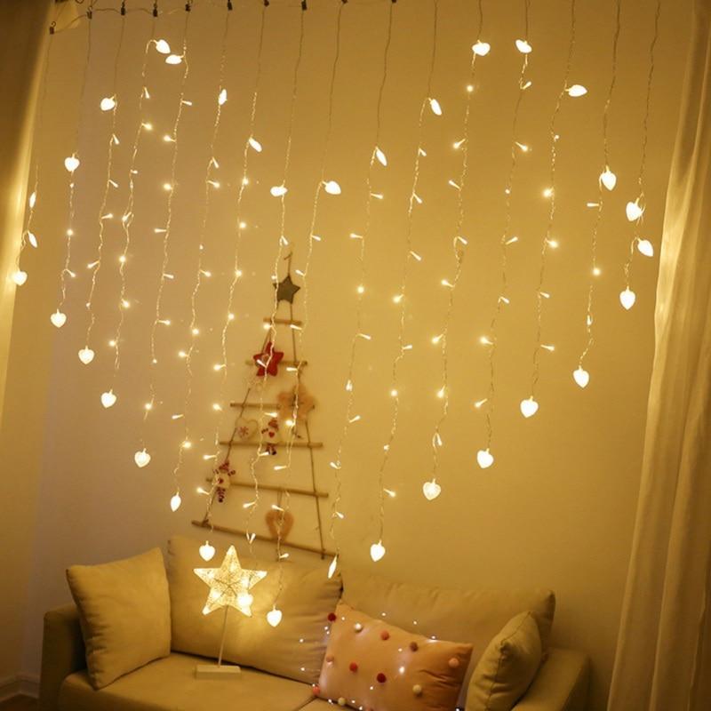 new hot eu 112 lights curtain light string love shape light string window curtain lights curtain decoration for bedroom wall