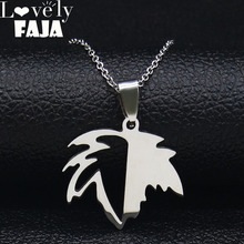 2019 Fashion Maple leaf Stainless Steel Statement Necklace Women Silver Color Necklaces & Pendants Jewelry collares N19415