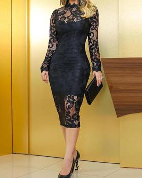 2020 Autumn Spring Women Fashion Elegant Sexy Hollow Out Lace Overlay Bodycon Midi Dress O Neck Long Sleeve Patchwork 2019 spring new women half sleeve loose flavour black dress long summer vestido korean fashion outfit o neck big sale costume