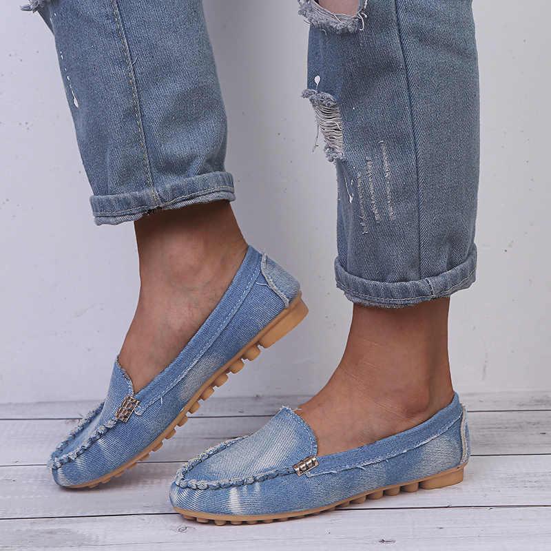 Bằng giản Mùa Xuân, Mùa Thu Phẳng Nữ Giày Trượt Mềm Mũi Tròn Plus Size Denim Bãi Quần Jean Giày