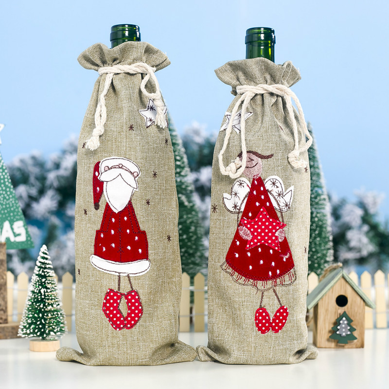 Linen Embroidered Angel Christmas Wine Bottle Cover Wine Sleeve Champagne Dress Wine Bags Christmas Decorative Table Decor