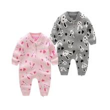Knitted Romper Overalls Outwear Zipper Newborn-Girls Infants Baby Rabbit Cute Lovely