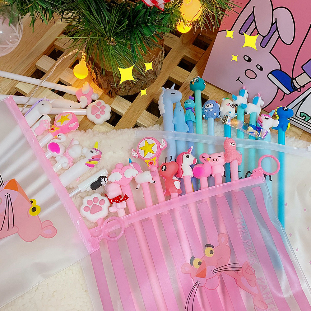 New Cute Creative Neutral Pen 10 Pcs/Set Korean ins Girl Heart Web Celebrity Set Students Cartoon