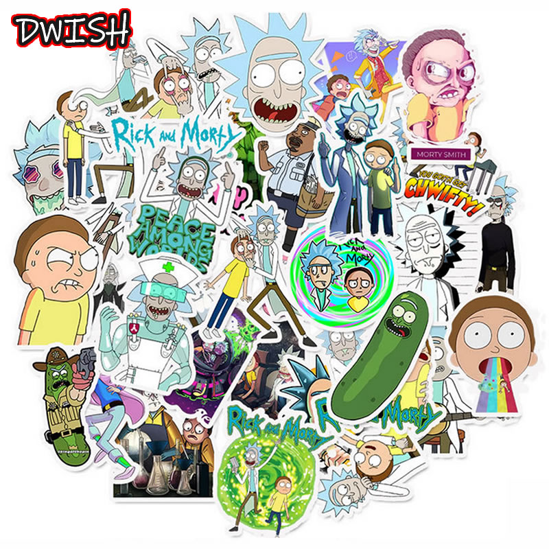 50pcs/Pack Waterproof Cartoon Rick And Morty Stickers Skateboard Suitcase Guitar Luggage Laptop Phone Stickers  Classic Toy