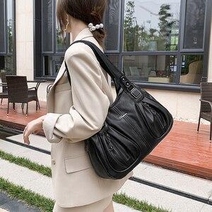 Vintage Hobo Bags Women Leather Designer Black Women Handbags Simple Tote Shopper Bag Quality Female Solid Color Shoulder Bags