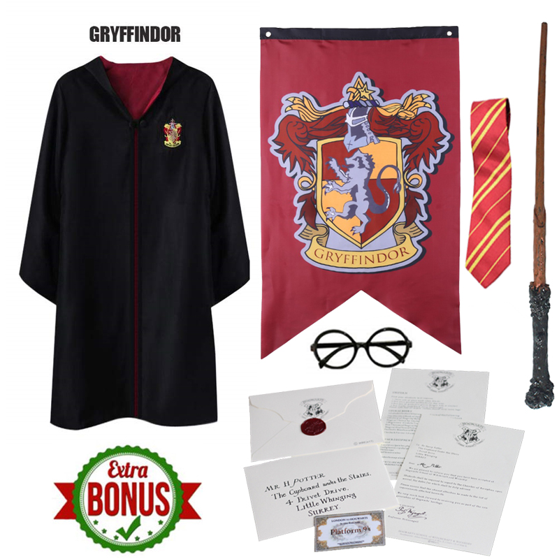 Hogwarts Letter Outfits Potter Magic Cloak Potter Robe Cape Suit Uniform Cosplay Ravenclaw Gryffindor Cosplay Costumes Kid Adult