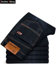 Slim Jeans Pants Trousers Stretch Classic Black Blue Male Men's Denim Brand Casual New