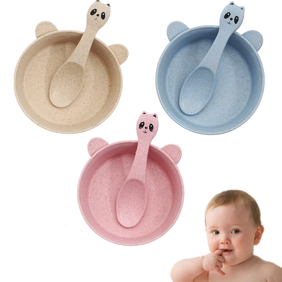 2 Pcs/set Baby Feeding Food Tableware Cartoon Wheat Kid Dishe Eco-friendly Children Training Dinnerware Plate Bowl Spoon  Bibs