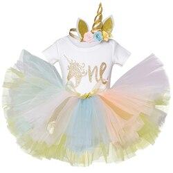 Bordado unicórnio vestido 1 ano menina do bebê aniversário dressbonito roupas recém-nascidos tutu vestido flor bandana vestido de baile da criança do bebê
